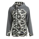 Women Camo Hooded Sweater Camouflage Splice Long Sleeves Zipper Pockets Casual Hoodies Top