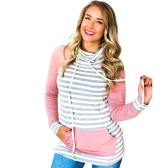 Women Hoodie Striped Drawstring Pocket Elbow Patch Long Sleeve Casual Pullover Sweatshirt Pink/Yelllow