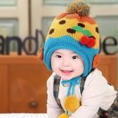 Baby Kids Knitted Hat Cute Cherry Bowknot Fleece Earflap Hat Children Pompom Cap