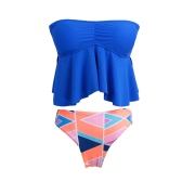 New Women Bandeau Bikini Set Swimwear Swimsuit Tankini Top Removable Straps Padded Beach Bathing Suit Royal Blue