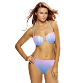 Sexy Women Bikini Set Shell Gradient Color Halter Underwire Push Up Beach Swimwear Swimsuit Bathing Suit Purple