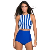 New Sexy Women Stripe Crop Tankini Set Sport Push-Up Bathing Suit High Waist Two Piece Swimsuit Retro Swimwear Blue