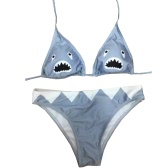 Sexy Women Triangle Bikini Set Shark Print Swimsuit Low Waist Swimwear Padded Beach Bathing Suit Grey