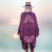 Fashion Women Long Beach Chiffon Cover Up Kimono Allover Print Tassel Hem Front Open Loose Long Thin Coat Purple