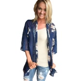 New Women Chiffon Kimono Cardigan Floral Print Hollow Out Loose Outerwear Beachwear Bikini Cover Up Blue
