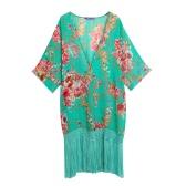 Sexy Women Bikini Cover Up Floral Print Tassels Chiffon Semi-sheer Bathing Suit Loose Long Swimwear Summer Beach Green