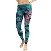 Sexy Women Yoga Sports Leggings Floral Skull Head Diamond Print High Waist Workout Running Skinny Slim Fitness Pants