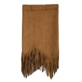 Flapper Fashion Women Faux Suede Tassel Fringe High Waist Asymmetric Slim Skirt