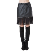 Chic Women PU Button Front Pocket Rivets Tassels High Waist Short Skirt