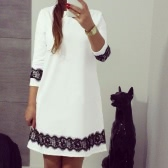 New Fashion Women Mini Dress Lace Splice 3/4 Sleeve O Neck Loose Casual Dress White