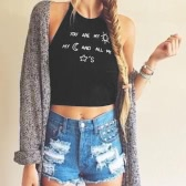 New Fashion Women Crop Top Letter Print Sleeveless Backless Halter Tank Top Vest T-Shirt Black