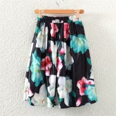 Retro Floral Print A-Line Pleated High Waist Midi Skirt for Women