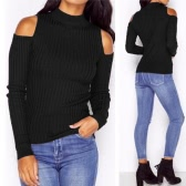 New Women Knitted Sweater Turtle Neck Cold Shoulder Rib Knitted Warm Pullover Tops