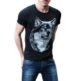 Cool Wolf 3D Print Short Sleeve Black Cotton T-Shirt for Men
