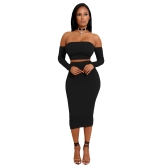 Sexy Women Two Pieces Set Off Shoulder Lace Up Back manga comprida Backless Crop Top Bodycon Pencil Skirt Set