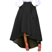 New Fashion Winter Women High Waist High Low Pleated Midi Skirt Solid Color A Line Skater Swing Skirt
