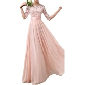 Women Dress Lace Chiffon Half Sleeve Slim Maxi Long Gown Elegant Princess Evening Party One-Piece