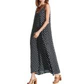 Women Dress Polka Dot Print V Neck Sleeveless Loose Maxi Long Beach Bohemian Vintage One-Piece