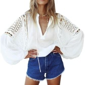 Sexy Women Sheer Chiffon Crochet Lace Blouse Loose Hollow Out V-Neck Lantern Long Sleeves Casual Top Shirt White