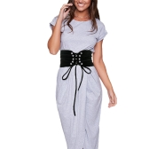 New Fashion Women Vintage Waist Belt Self-tie Hook Waistband Waist Strap White/Black