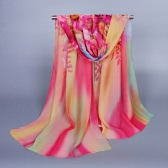 Anself Fashion Floral Print Gradient Color Long Shawl Pashmina Beach Scarf for Women