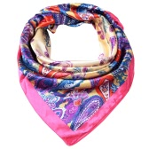 Fashion Women Square Scarf Colorful Floral Print Contrast Shaw Pashima Kerchief Elegant Thin Scarf