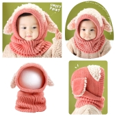 Cute Winter Kids Girls Boys Kintted Hat Ear Puppy Caps Unisex Toddlers Babies Scarf Coif Hood One-Piece Warm Children Gifts