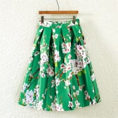 New Fashion Women Skirt Butterfly Floral Print A Line Zipper Elegant Skirt Green/Black/White