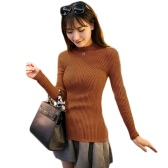 New Fashion Women Knitted Sweater Striped Turtle Neck Long Sleeves Stretchy Elegant Pullover Top Bodycon Ribbed Knitwear