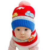 New Cute Baby Girl Boy Knitted Hat Scarf Set Car Pattern Fleece Warm Cap Neck Warmer Two-Piece Set