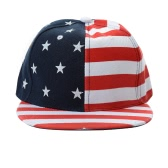New Women Men Cap American Flag USA Letter Print Snapback Flat Hat Baseball Hip-Pop Cap Red/Black