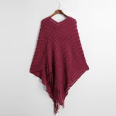 Women Ladies Cape Coat Fringe Poncho Oblique Stripe Coat Tassel Pullover Cloak Knitted Sweater