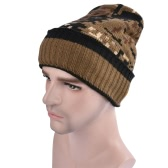 Men Women Unisex Camouflage Fleece Lining Beanie Thicken Winter Warm Hat Knit Camo Ski Bonnet Gorros