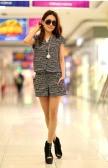 Korean Fashion Women Rompers Short Sleeve Elastic Waist Short Pants Jumpsuits Dark Blue/Stripe/Dot