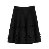 Chic Faux Suede Hollow Flower High Waist Pleated A-Line Women