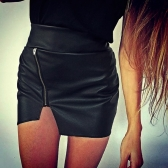 Sexy Women PU Leather High Waist Zipper Closure Irregular Hem Mini Skirt