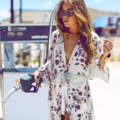 Fashion Women Chiffon Kimono Floral Print Beach Cover Up Open Cape Casual Cardigan Blouse Coat Purple