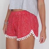 Casual Print Hairball Elastic Waist Beach Shorts for Women