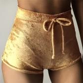 New Women Velvet Shorts High Waist Autumn Winter Sexy Elegant Casual Skinny Pants