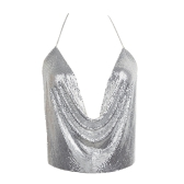 Women Metal Crop Top Halter Plunge V Adjustable Chains Sleeveless Backless Sequins Party Club Vest Cropped Top