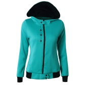 New Women Sweater Hooded Contrast Color Long Sleeve Pockets