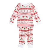 New Girls Boys Kids Two-Piece Set Pajama Christmas Sleepwear O-Neck Long Sleeves Casual House Coat Pants White