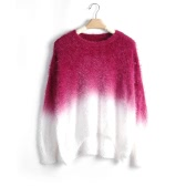 New Fashion Women Gradient Sweater Knitted Fluffy Mohair Batwing Sleeve O Neck Loose Sweater Pullover