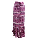 New Fashion Women Bohemian Print Maxi Skirt Tie Waist Wraparound Ruffle Hem Split Long Skirt Purple