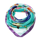 New Fashion Women Scarf Satin Polyester Riding Pattern Print Color Block Square Cut Big Size Kerchief