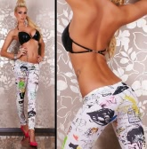 Fashion Cartoon Graffiti Tattoo Print Elastic Waist Skinny Leggings for Women