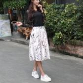 New Fashion Women Skirt Butterfly Floral Print A Line Zipper Elegant Skirt Green/Black/White