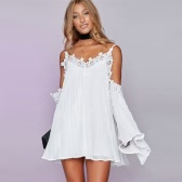 Boho Women Chiffon Dress Pleated Crochet Lace Splice Off Shoulder Flare Sleeve Mini Beach Party One-Piece White