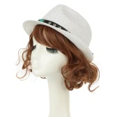 Unisex Men Women Straw Fedora Hat Rivet Short Rolled Brim Retro Panama Style Trilby Cap Homburg White