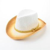 Fashion Women Sun Hat Contrast Color Wide Brim Belt Summer Sunbonnet Beach Panama  Fedora Hat White